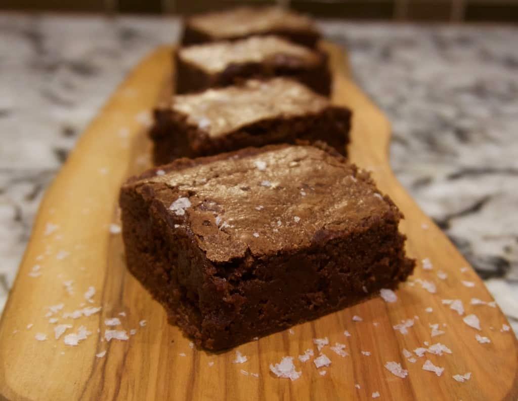Salted Fudge Brownies   YummyNoises.com
