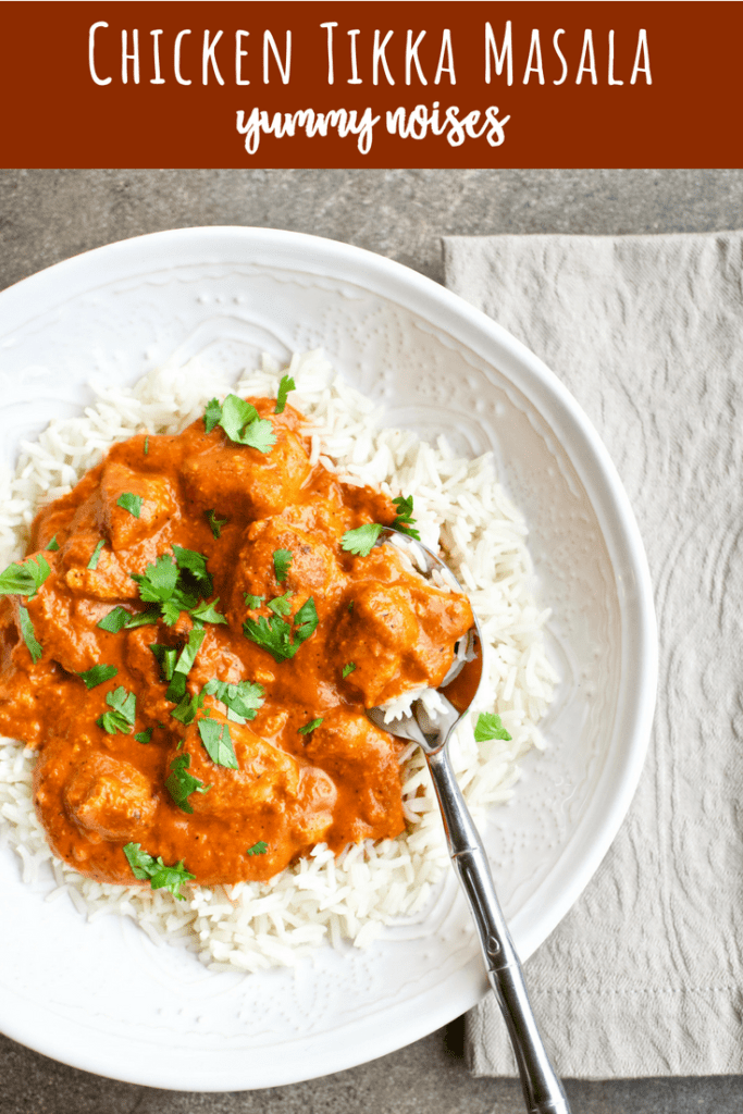 Chicken Tikka Masala | YummyNoises.com Chunks of chicken are marinated, broiled and served in a creamy, Indian-spiced tomato sauce absolutely bursting with flavor…you'll be licking your plate!