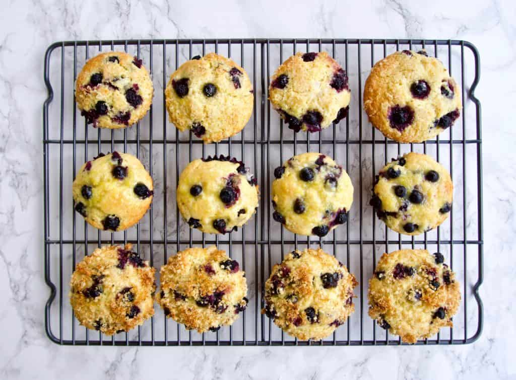 Overhead view of Blueberry lemon muffins