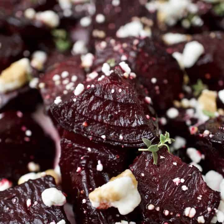 Closeup of roasted beets with goat cheese and balsamic vinaigrette